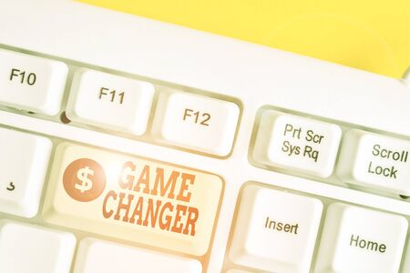 Text sign showing Game Changer. Business photo showcasing way that effects a major shift in the current analysisner of doing White pc keyboard with empty note paper above white background key copy space