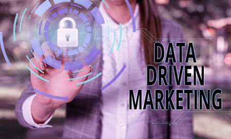 Handwriting text Data Driven Marketing. Conceptual photo Strategy built on Insights Analysis from interactions Female human wear formal work suit presenting presentation use smart device