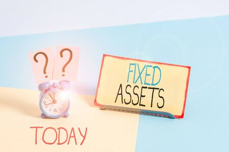 Text sign showing Fixed Assets. Business photo showcasing longterm tangible piece of property or equipment a firm owns