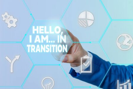 Handwriting text Hello I Am In Transition. Conceptual photo Changing process Progressing planning new things Male human wear formal work suit presenting presentation using smart device