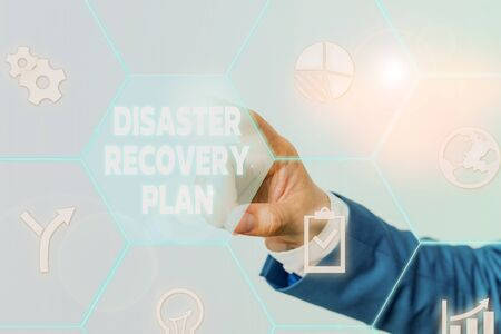 Handwriting text Disaster Recovery Plan. Conceptual photo having backup measures against dangerous situation Male human wear formal work suit presenting presentation using smart device