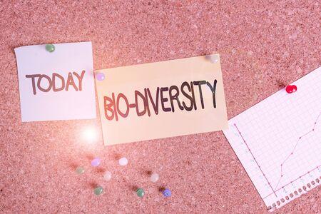 Handwriting text writing Bio Diversity. Conceptual photo Variety of Life Organisms Marine Fauna Ecosystem Habitat Corkboard color size paper pin thumbtack tack sheet billboard notice board
