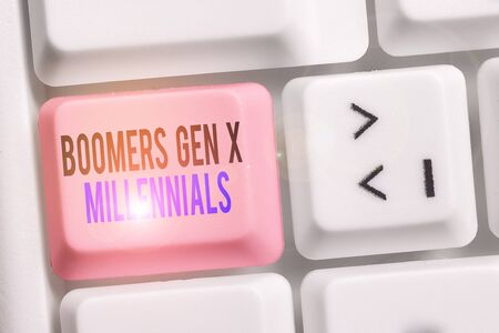 Writing note showing Boomers Gen X Millennials. Business concept for generally considered to be about thirty years Keyboard with note paper on white background key copy space