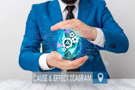 Conceptual hand writing showing Cause And Effect Diagram. Concept meaning Visualization tool to categorize potential causes Male human wear formal suit presenting using smart device Stock Photo