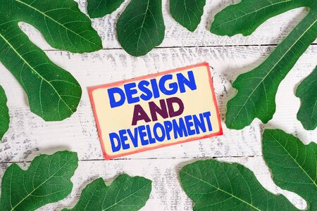 Text sign showing Design And Development. Business photo text Defining the Specification of Products and Services