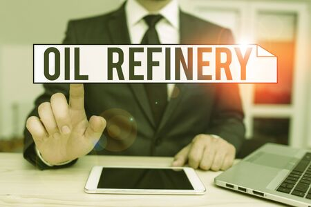 Text sign showing Oil Refinery. Business photo text industrial process of converting crude oil into petroleum