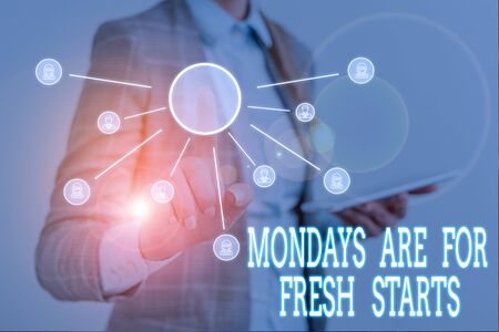 Conceptual hand writing showing Mondays Are For Fresh Starts. Concept meaning Begin again every week have a good morning Woman wear work suit presenting presentation using smart device