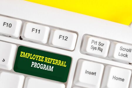 Word writing text Employee Referral Program. Business photo showcasing employees recommend qualified friends relatives White pc keyboard with empty note paper above white background key copy space