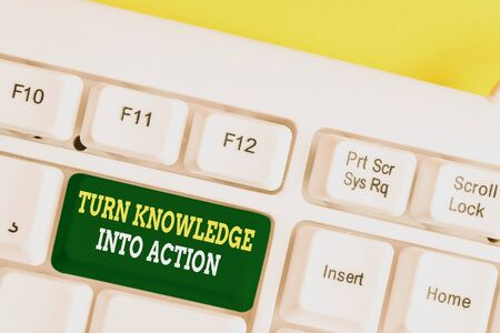 Word writing text Turn Knowledge Into Action. Business photo showcasing Apply what you have learned Leadership strategies White pc keyboard with empty note paper above white background key copy space