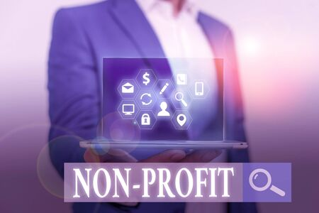 Word writing text Non Profit. Business photo showcasing type of organization that does not earn profits for its owners