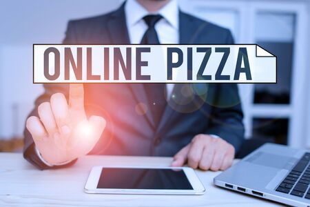 Text sign showing Online Pizza. Business photo text fast delivery of pizza at your doorstep Ordering food online