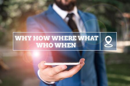 Handwriting text writing Why How Where What Who When. Conceptual photo Questions to find solutions Query Asking Businessman in blue suite stands with mobile phone in hands