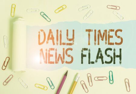 Conceptual hand writing showing Daily Times News Flash. Concept meaning fast response to actions happened in article way Stock fotó
