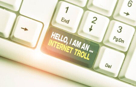 Handwriting text Hello I Am An Internet Troll. Conceptual photo Social media troubles discussions arguments White pc keyboard with empty note paper above white background key copy space