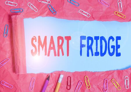 Text sign showing Smart Fridge. Business photo showcasing programmed to sense what kinds of products being stored inside