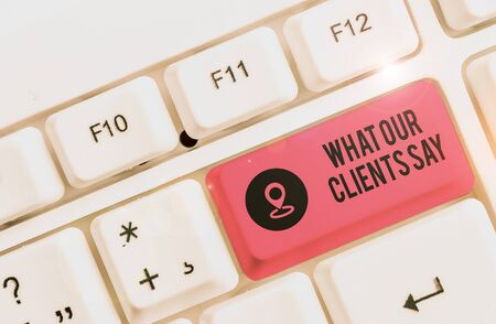 Writing note showing What Our Clients Say. Business concept for testimonials or feedback of aclient about the product White pc keyboard with note paper above the white background
