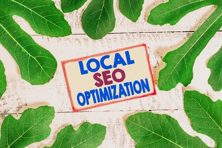 Text sign showing Local Seo Optimization. Business photo text increase Search Visibility to Rank on Top list Banque d'images