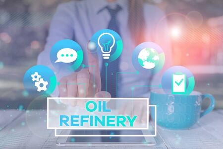 Word writing text Oil Refinery. Business photo showcasing industrial process of converting crude oil into petroleum Female human wear formal work suit presenting presentation use smart device Banco de Imagens