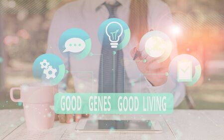Text sign showing Good Genes Good Living. Business photo text Inherited Genetic results in Longevity Healthy Life Female human wear formal work suit presenting presentation use smart device