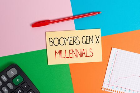Word writing text Boomers Gen X Millennials. Business photo showcasing generally considered to be about thirty years Office appliance colorful square desk study supplies empty paper sticker