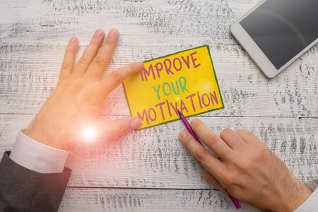 Writing note showing Improve Your Motivation. Business concept for Boost your self drive Enhance Motives and Goals Stock Photo