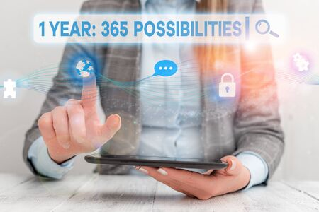 Text sign showing 1 Year 365 Possibilities. Business photo showcasing Beginning of a New Day Lots of Chances to Start Female human wear formal work suit presenting presentation use smart device