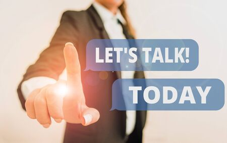 Text sign showing Let S Talk. Business photo text they are suggesting beginning conversation on specific topic Digital business in black suite concept with business woman