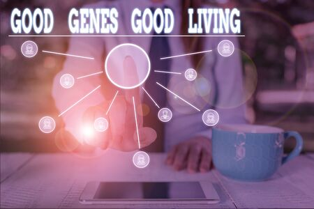 Word writing text Good Genes Good Living. Business photo showcasing Inherited Genetic results in Longevity Healthy Life Woman wear formal work suit presenting presentation using smart device