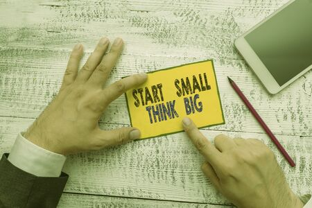 Word writing text Start Small Think Big. Business photo showcasing Initiate with few things have something great in mind