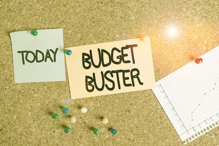 Handwriting text writing Budget Buster. Conceptual photo Carefree Spending Bargains Unnecessary Purchases Overspending Corkboard color size paper pin thumbtack tack sheet billboard notice board