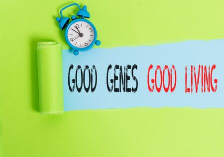 Conceptual hand writing showing Good Genes Good Living. Concept meaning Inherited Genetic results in Longevity Healthy Life
