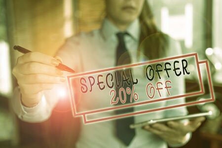 Text sign showing Special Offer 20 Percent Off. Business photo text Discounts promotion Sales Retail Marketing Offer Blurred woman in the background pointing with finger in empty space