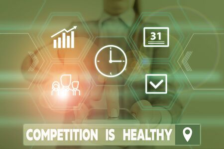 Conceptual hand writing showing Competition Is Healthy. Concept meaning Rivalry is good in any Venture leads to Improvement Woman wear work suit presenting presentation smart device