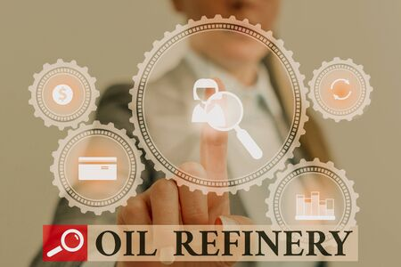 Handwriting text writing Oil Refinery. Conceptual photo industrial process of converting crude oil into petroleum Woman wear formal work suit presenting presentation using smart device