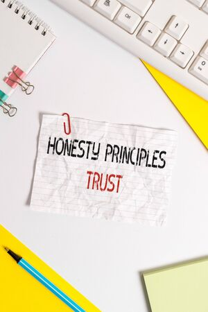 Word writing text Honesty Principles Trust. Business photo showcasing believing someone words for granted Telling truth Flat lay above table with pc keyboard and copy space paper for text messages Stock Photo