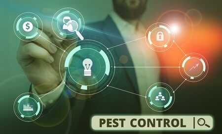Word writing text Pest Control. Business photo showcasing analysisagement of a species that impacts adversely on huanalysis Male human wear formal work suit presenting presentation using smart device
