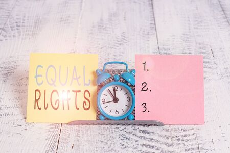 Text sign showing Equal Rights. Business photo showcasing Equality before the law when all showing have the same rights Stock Photo