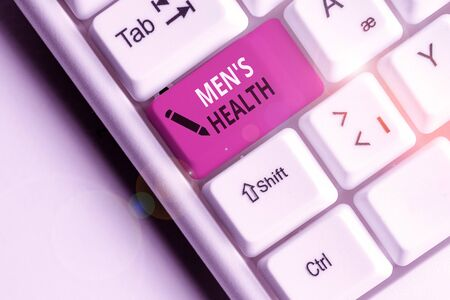 Handwriting text Men S Health. Conceptual photo State of complete physical and mental wellbeing of men White pc keyboard with empty note paper above white background key copy space