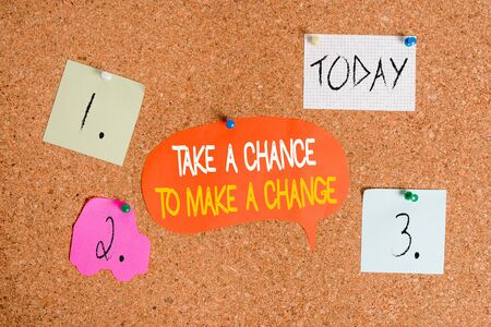 Word writing text Take A Chance To Make A Change. Business photo showcasing dont lose opportunity to reach bigger things Corkboard color size paper pin thumbtack tack sheet billboard notice board