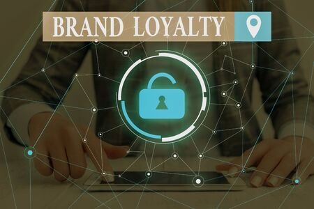 Text sign showing Brand Loyalty. Business photo text Repeat Purchase Ambassador Patronage Favorite Trusted Woman wear formal work suit presenting presentation using smart device