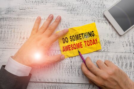 Text sign showing Do Something Awesome Today. Business photo showcasing Make an incredible action motivate yourself Stock fotó
