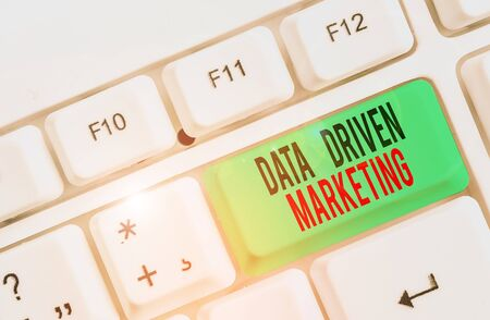 Text sign showing Data Driven Marketing. Business photo text Strategy built on Insights Analysis from interactions White pc keyboard with empty note paper above white background key copy space