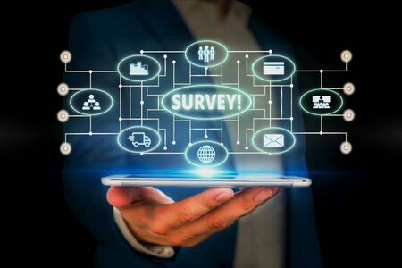 Word writing text Survey. Business photo showcasing research method used for collecting data from a predefined group Male human wear formal work suit presenting presentation using smart device