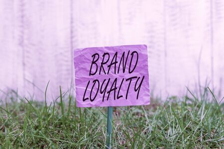 Conceptual hand writing showing Brand Loyalty. Concept meaning Repeat Purchase Ambassador Patronage Favorite Trusted Plain paper attached to stick and placed in the grassy land