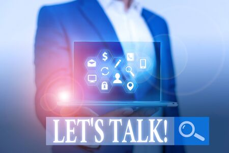 Word writing text Let S Talk. Business photo showcasing they are suggesting beginning conversation on specific topic
