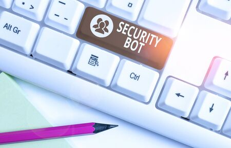 Word writing text Security Bot. Business photo showcasing software that performs an automated task over the Internet White pc keyboard with empty note paper above white background key copy space