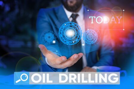 Word writing text Oil Drilling. Business photo showcasing involves the drilling and pumping of oil from underground wells Male human wear formal work suit presenting presentation using smart device Stok Fotoğraf
