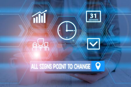 Word writing text All Signs Point To Change. Business photo showcasing Necessity of doing things differently new vision Woman wear formal work suit presenting presentation using smart device