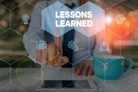Word writing text Lessons Learned. Business photo showcasing the knowledge or understanding gained by experience Woman wear formal work suit presenting presentation using smart device Stockfoto