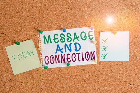 Handwriting text Message And Connection. Conceptual photo a word or letter sent to someone and it was received Corkboard color size paper pin thumbtack tack sheet billboard notice board Stock fotó